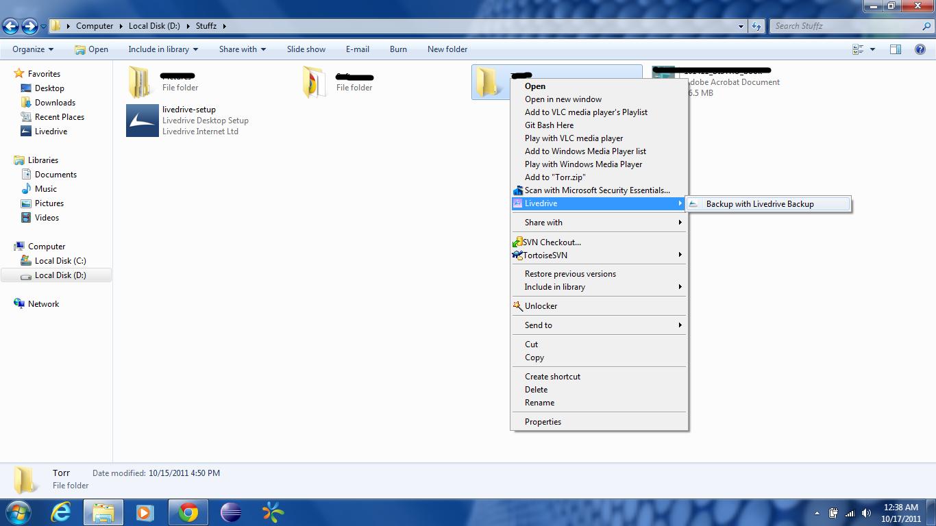 Add folder to Livedrive backup
